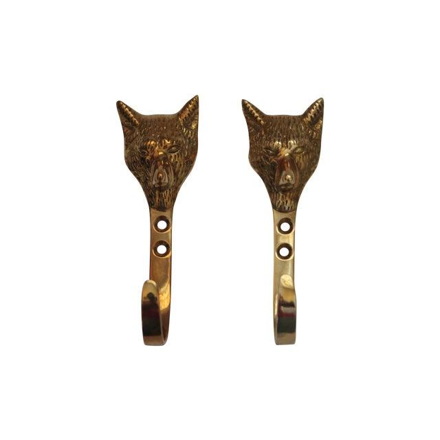 Image of Solid Brass Fox Head Hooks - Pair