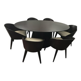 Contemporary Black Mahogany Oval Dining Set