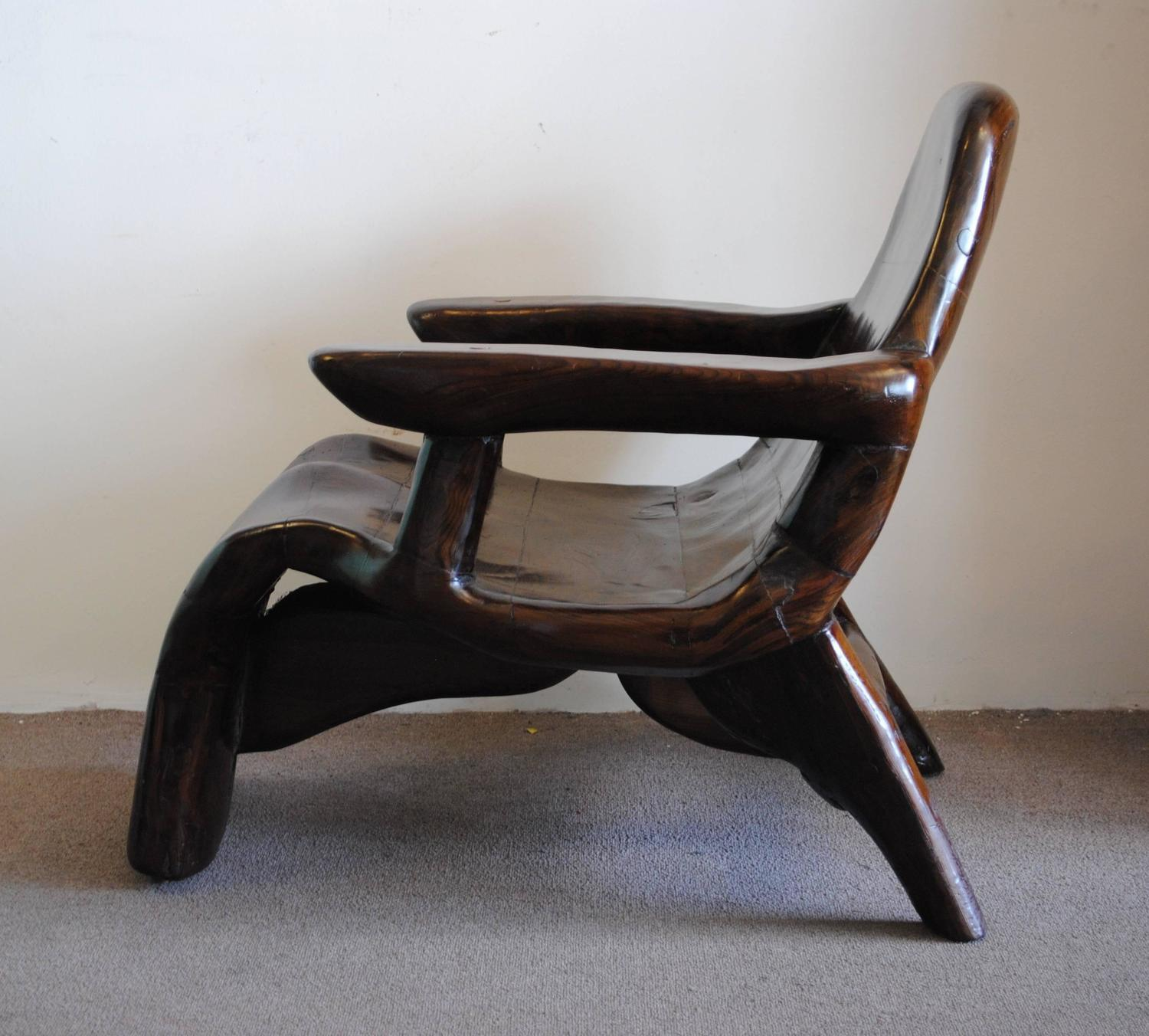 Noll Style Vintage Curved Wood Lounge Chair