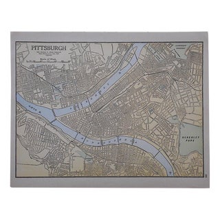 City Map Antique Lithograph - Pittsburgh