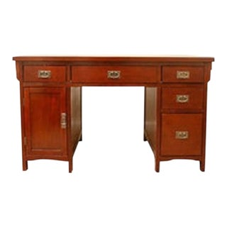 Asian Style Double Pedestal Mahogany Desk