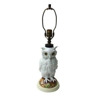 Porcelain Majolica Owl Lamp