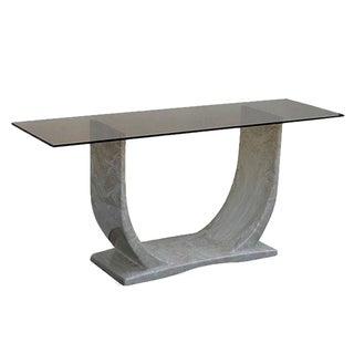 Marble & Gold Glass Top Console Table