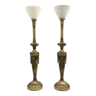Monumental Rembrandt Brass Torchiere Table Lamps - A Pair