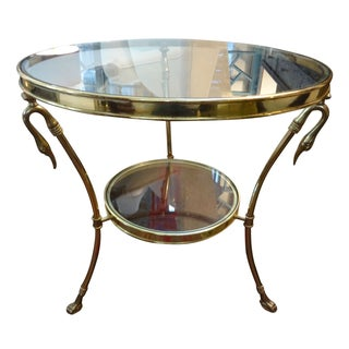 Italian Mid-Century Modern Two-Tiered Brass Table