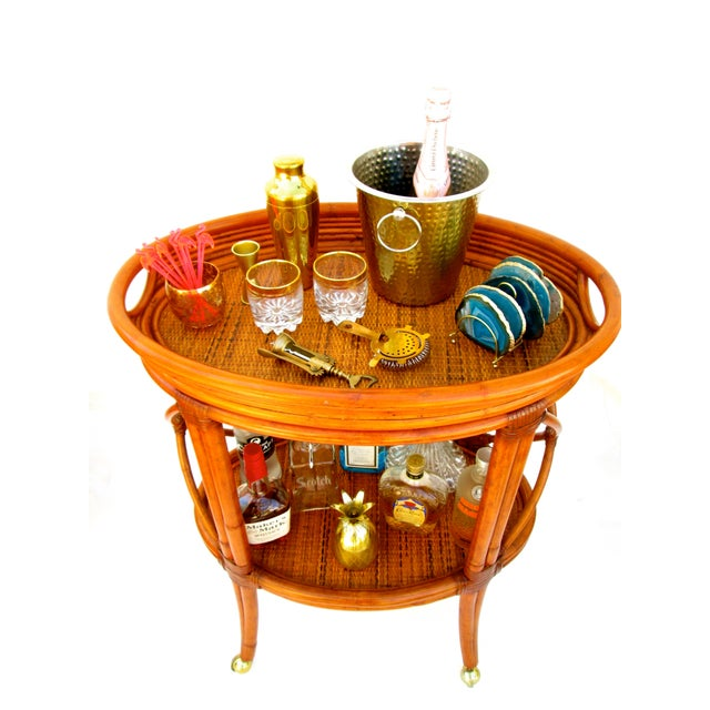 Vintage Ethan Allen Bamboo Rattan Bar Cart - Image 8 of 8