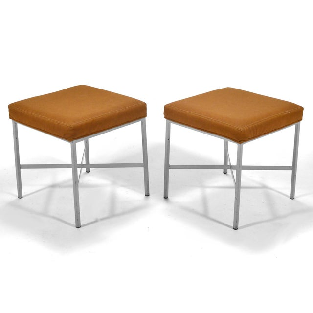 Shelby Williams Paul McCobb Style Ultrasuede Stools- a Pair - Image 3 of 7
