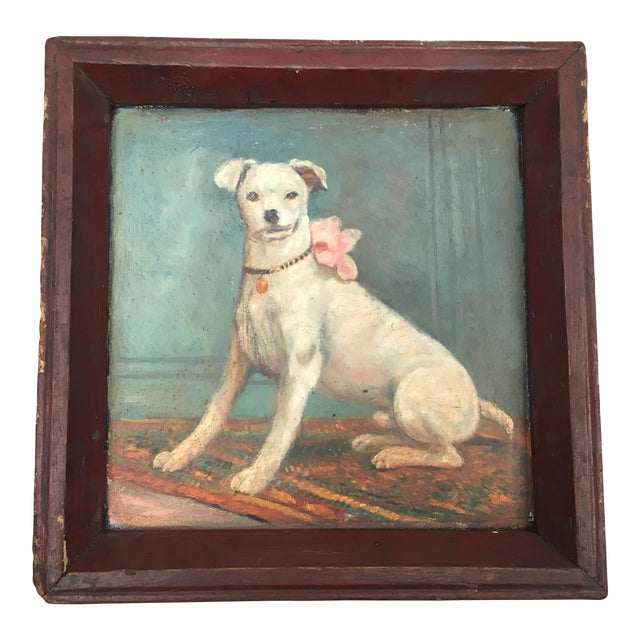 Vintage Tray with Portrait Painting of a Dog - Image 1 of 5