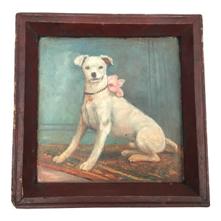 Vintage Tray with Portrait Painting of a Dog