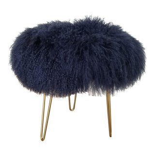 Navy Genuine Mongolian Lambs Wool Stool