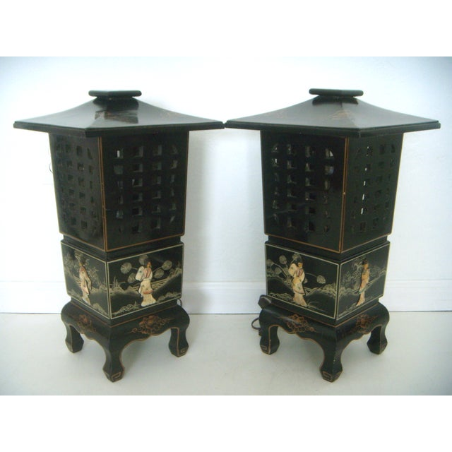 Vintage Lacquered Chinese Lanterns - Pair - Image 4 of 9