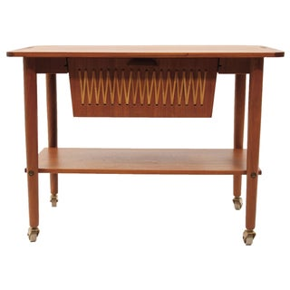 Rare Danish Teak Cart with Dual Opening Drawer