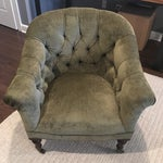 Image of English Velvet Barrel Chair