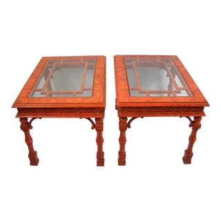 Chippendale Style Glass Top Red Side Tables - A Pair