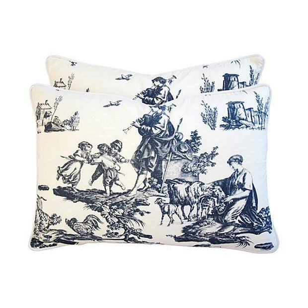 French Countryside Toile Pillows - A Pair - Image 1 of 7