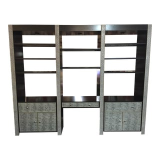 Covington Snake Skin Leather 3 Section Wall Unit