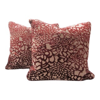 "Lee Jofa ""Foglia"" Pillows Burgundy Raised Velvet - a Pair"