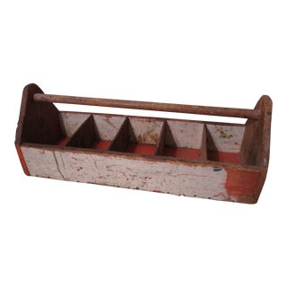Vintage Wood Carpenters Tool Caddy Tote Carrier