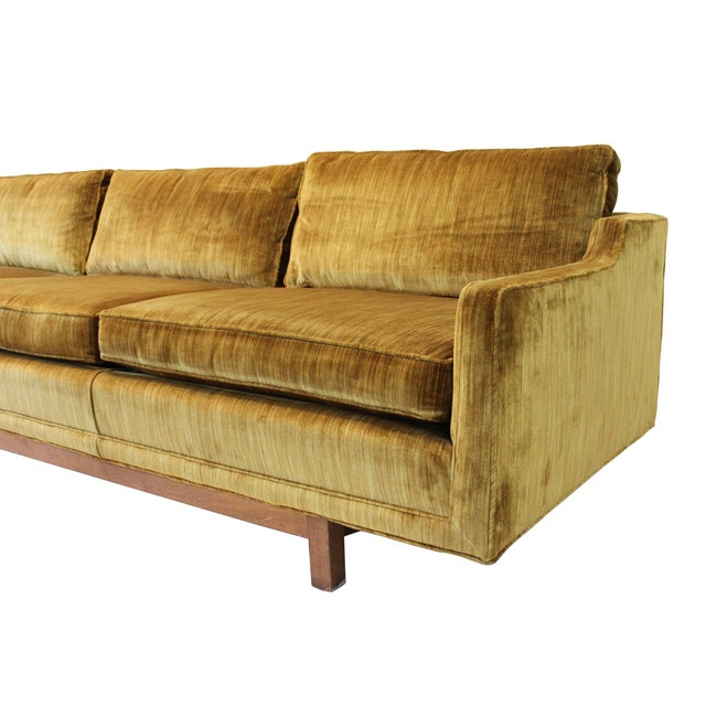 "Mid-Century Modern 101"" Sofa W Solid Walnut Base - Image 4 of 9"