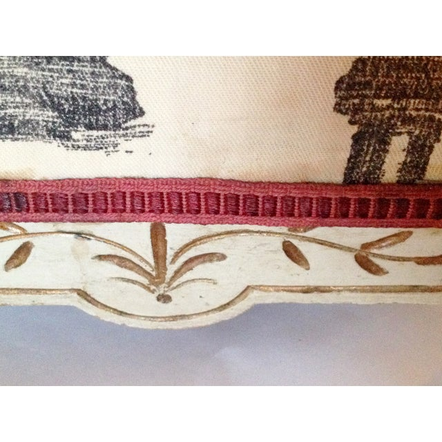 Painted French Footstool with Black & White Toile - Image 6 of 6