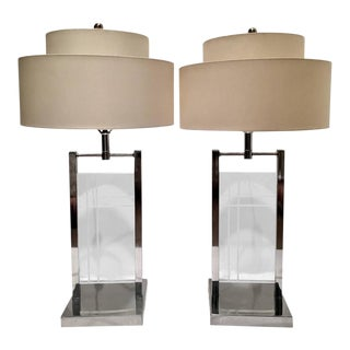 1970's George Kovacs Chrome & Lucite Panel Lamps - A Pair