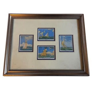 Framed English Cigarette Cards with Sailing Yacht Motif
