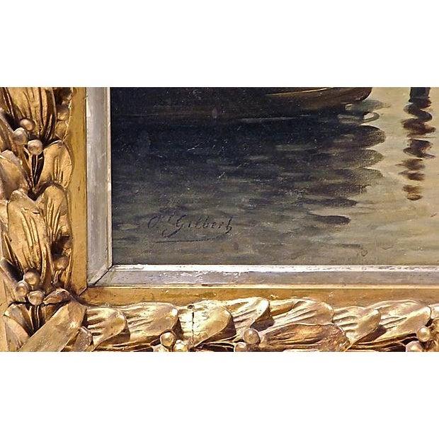 O. Gilbert Antique Harbor Scene Oil Painting - Image 4 of 4