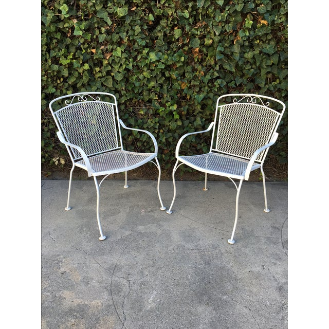 Image of White Outdoor Patio Chairs - A Pair