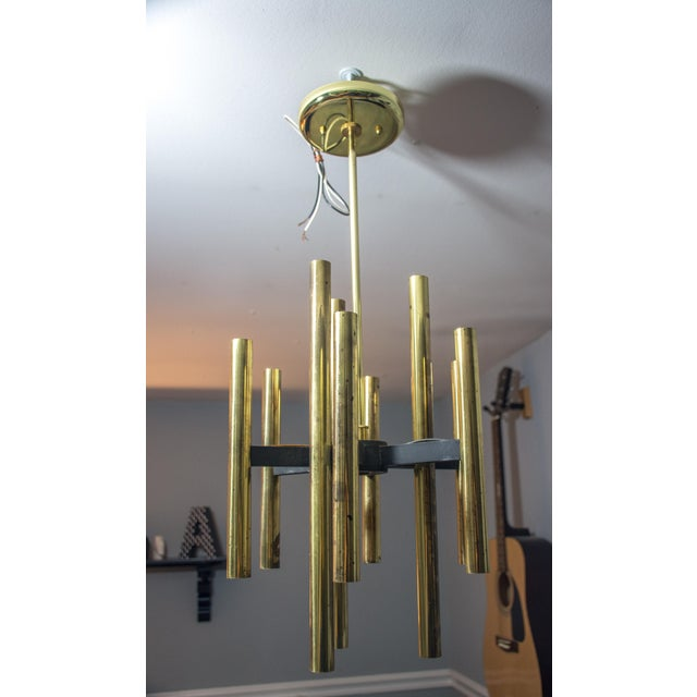 Image of Gaetano Sciolari 1960s Spoke & Brass Chandelier