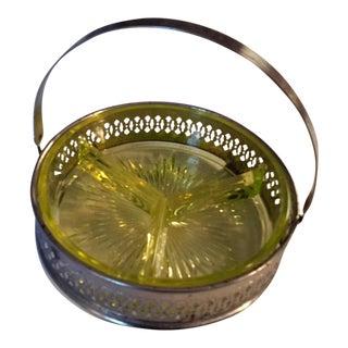 Mid-Century Depression Vasoline Glass Three-Sided Relish Tray