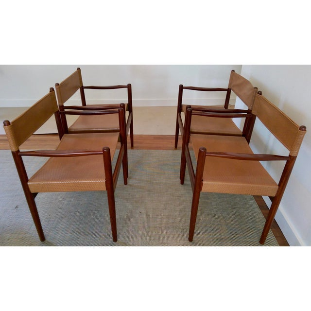 Arne Norell-Style Safari Sling Rosewood Chairs - Set of 4 - Image 2 of 8