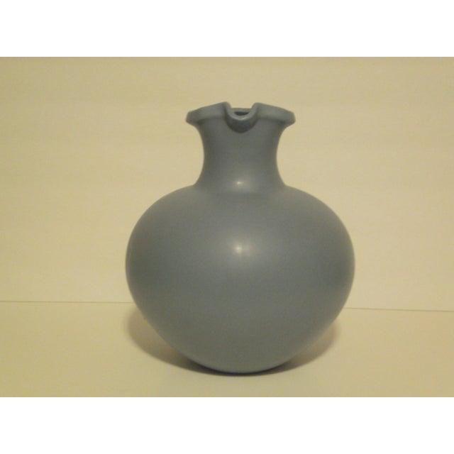 Large Art Pottery Blue Pitcher - Image 4 of 6