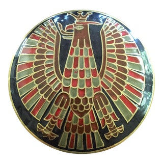 Art Deco Style Enameled Rising Phoenix Brass Box