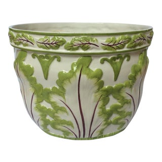 Vintage Italian Hand Painted Cabbage Leaves Cachepot