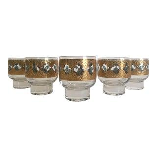 Vintage Mid-Century Modern Moroccan Gold Leaf Lowball Rocks Glasses - Set of 5