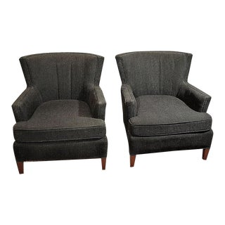 Contemporary Black Upholstered Accent Chairs - A Pair