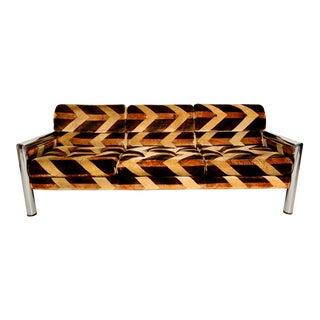 1970s Milo Baughman Style Chrome Frame Sofa
