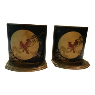 Asian Bird Motif Bookends - A Pair