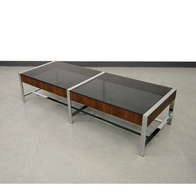 Mid-Century Modern Chrome And Glass Coffee Table - Image 2 of 6