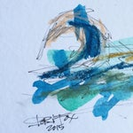 Image of Abstract Mixed Media Ocean Scape Painting