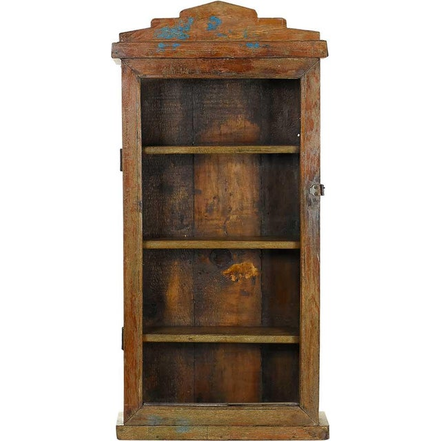 Image of Rustic Solid Wood Showcase Wall Cabinet