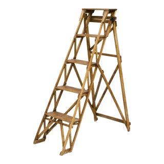 "English Antique Pine Ladder Labeled ""The Hatherley Lattistep, Patent"""