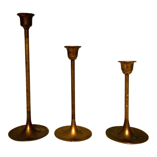 Vintage Tulip Graduated Brass Candlestick Holders - Set of 3 - Image 1 of 3