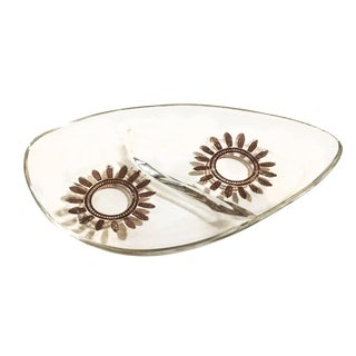 Mid-Century Glass & Metallic Candy Dish / Ashtray