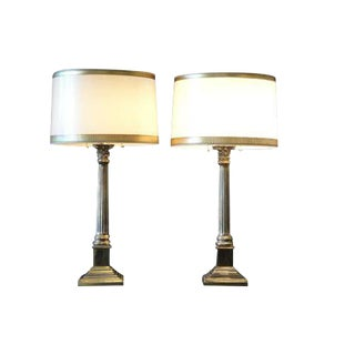 Lovely Pair of Neoclassical Brass Lamps attr Stiffel