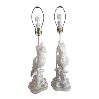 Mid-Century White Ceramic Cockatoo Lamps - A Pair