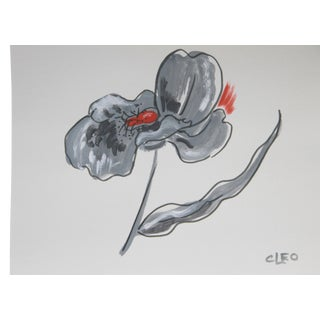 Abstract Floral Poppy Painting by Cleo
