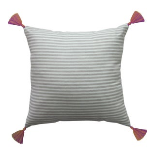Moroccan Copper Tasseled Striped Pillow