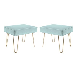Petite Brass Hairpin Ottomans in Mint Velvet by Montage