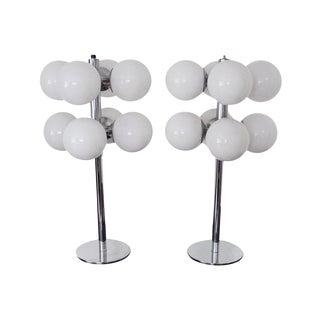 Mid-Century Chrome 8 Bulb Orb Table Lamps - Pair